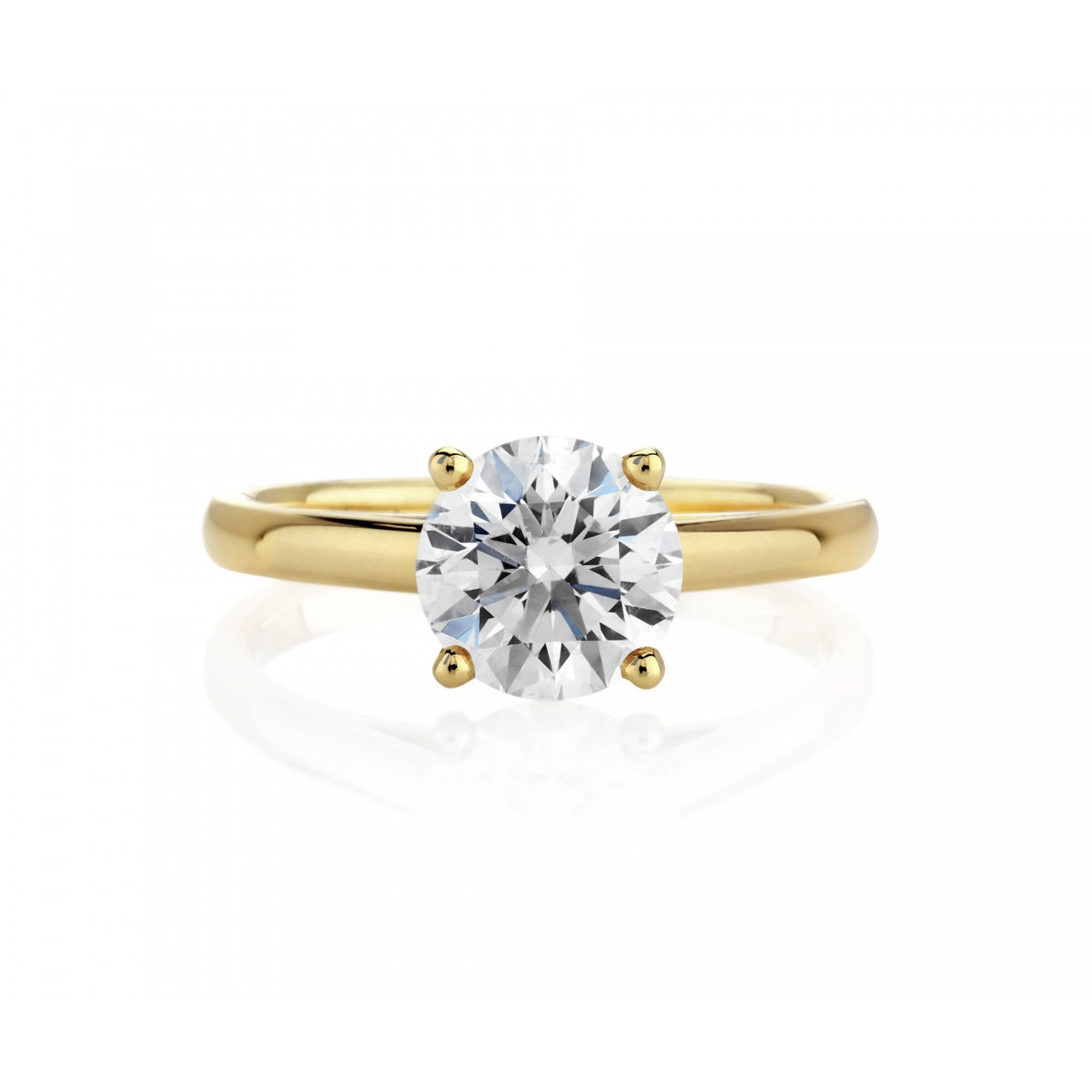 1bb1e7a9abc6 Db classic solitaire ring white diamond set in yellow gold