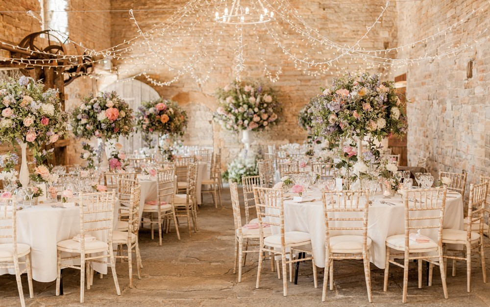 Almonry barn romantic wedding with pink colour scheme for Top wedding decor