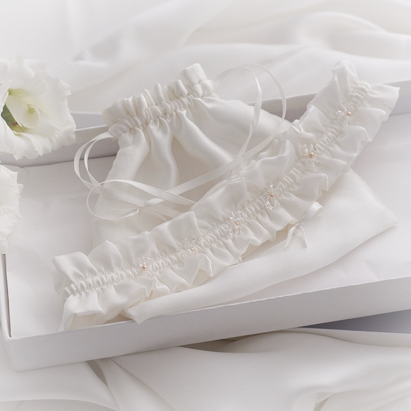 Mary Juliet Written in the Starts Wedding Garter Peach