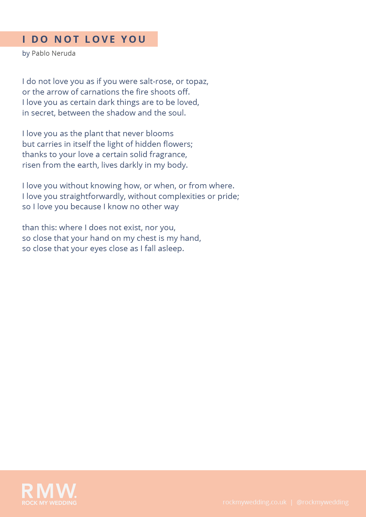 I Do Not Love You by Pablo Neruda - Wedding Readings