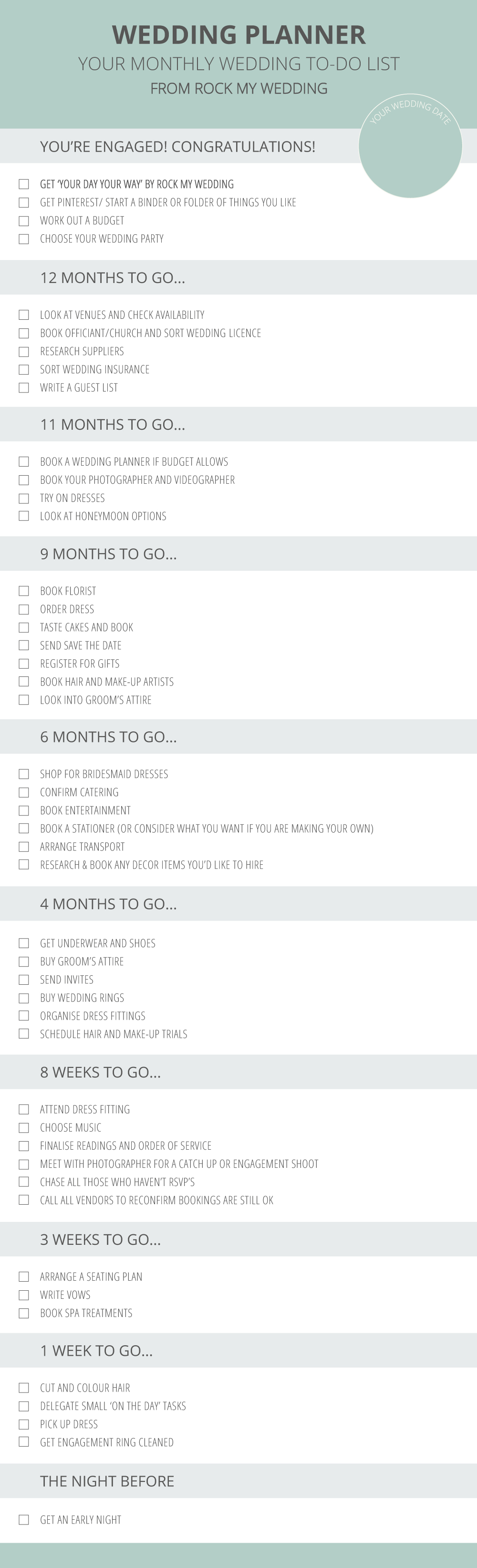 Month By Month Wedding Planning Checklist