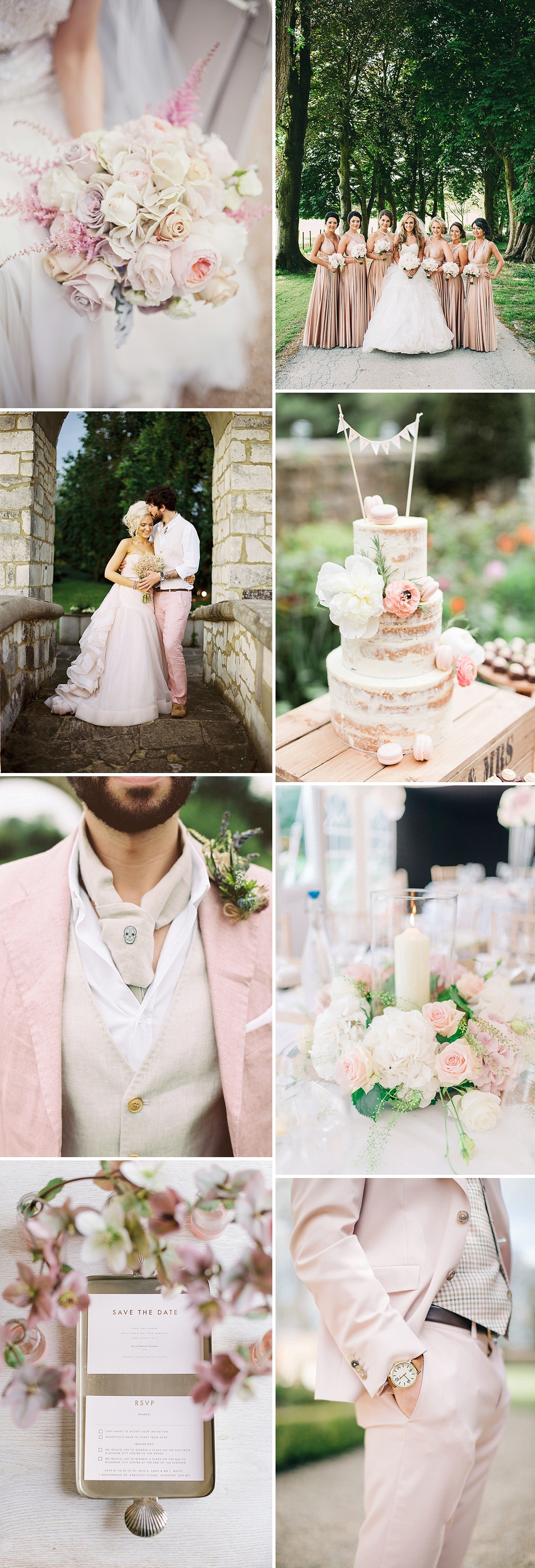how to incorporate a blush colour theme into your wedding day stylishly and within budget through your bridesmaid dresses florals and decor