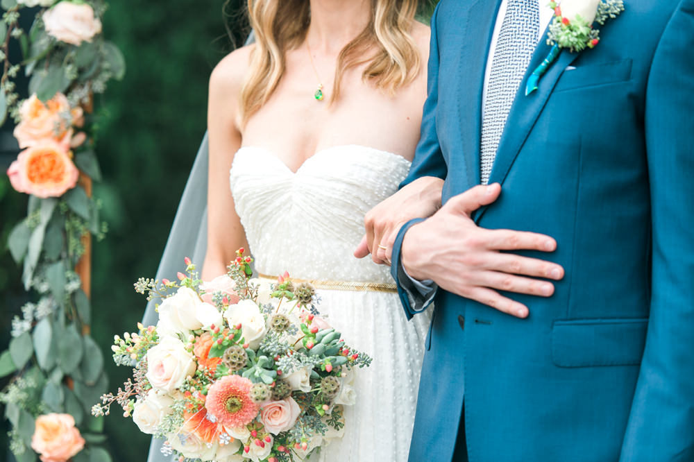 A Turquoise Blue, Peach & Gold Wedding at The Fig House in California