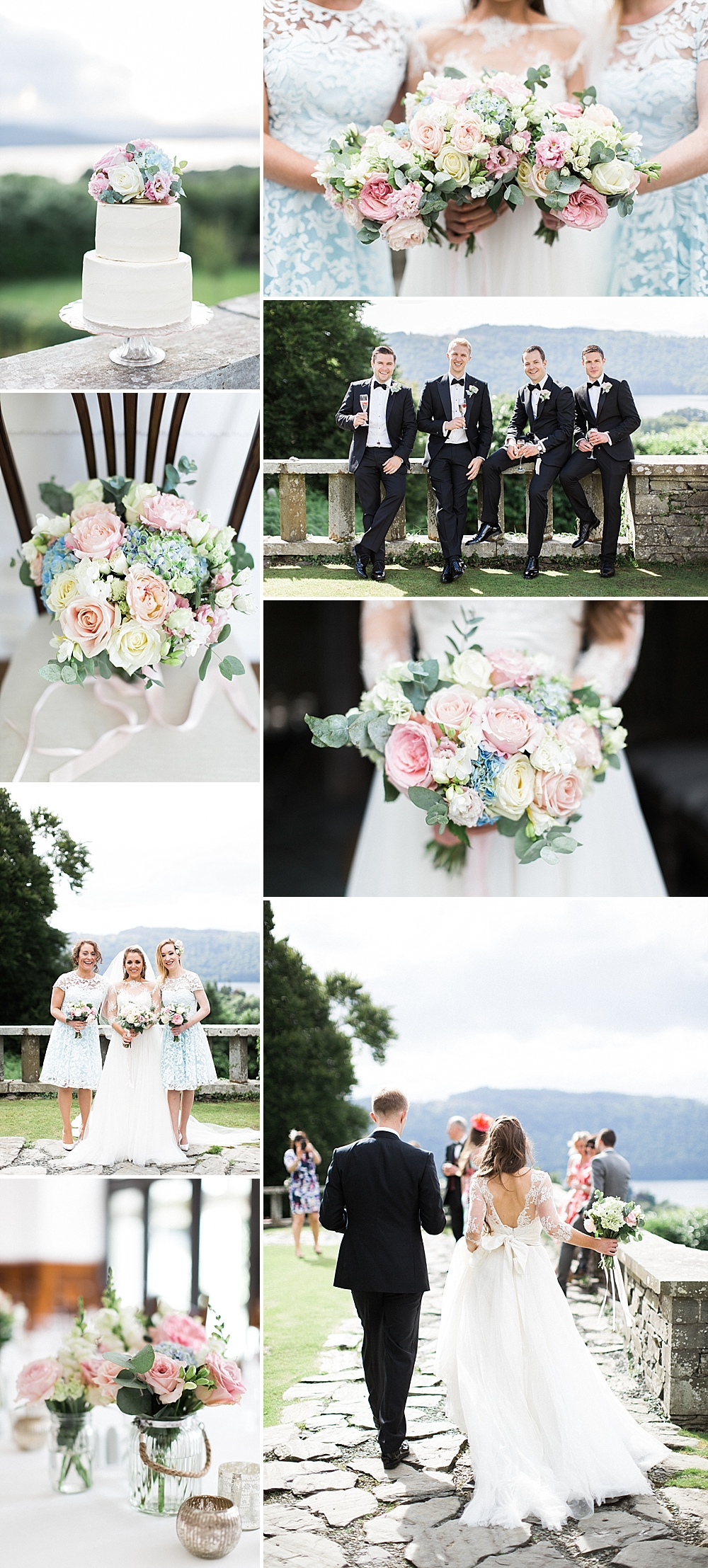 Romantic Black Tie Wedding with Pastel Flowers at Gossel Ridding Lake Windermere by Melissa Beattie Photography