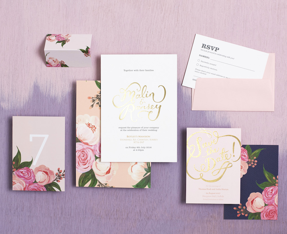 Semi Custom Invitations with Floral Burst Swatch // BerinMade