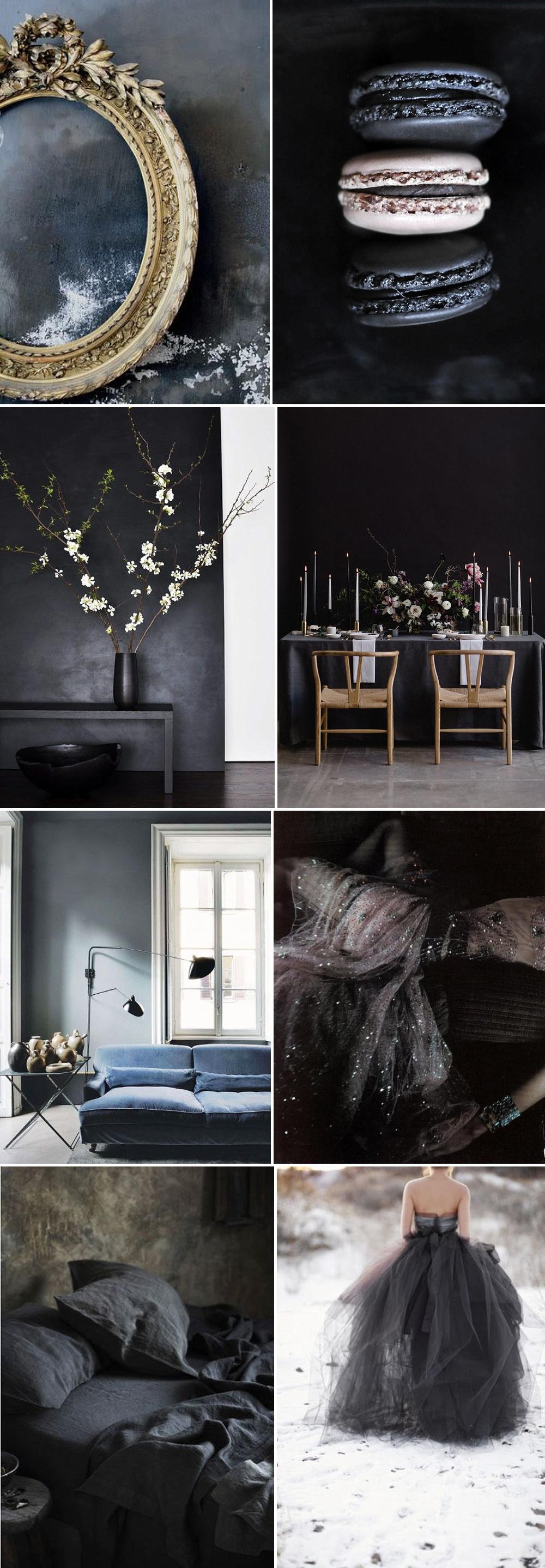 Charcoal Wedding Colour Palette // Dark Colour Palette For Wedding Day