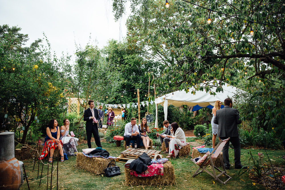 Colourful & Eclectic DIY At Home Back Garden Marquee Wedding