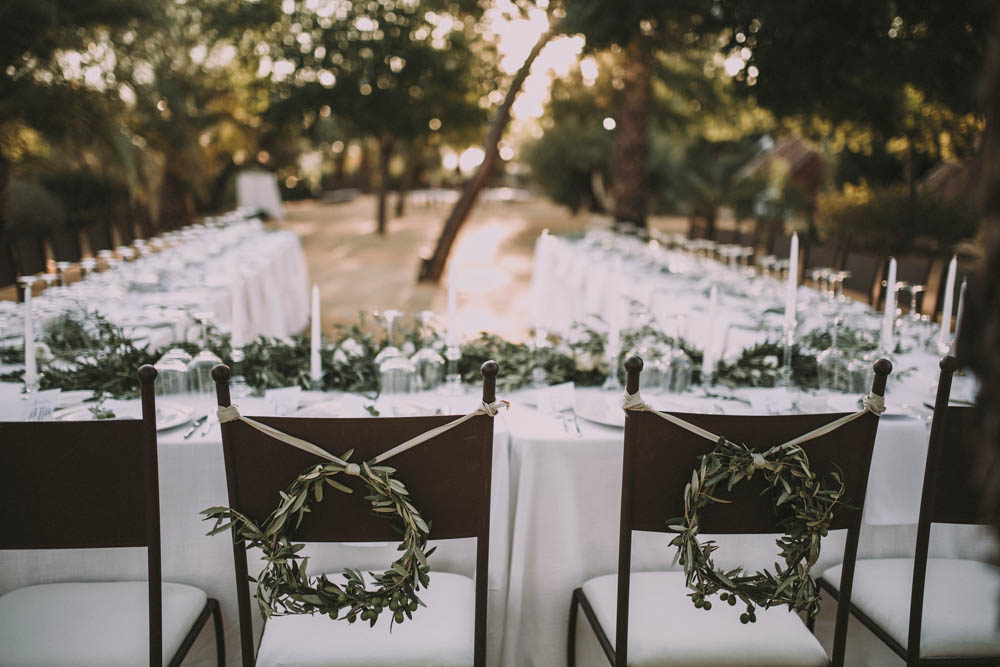 Elegant Outdoor Spanish Wedding With Olive Branches White Florals