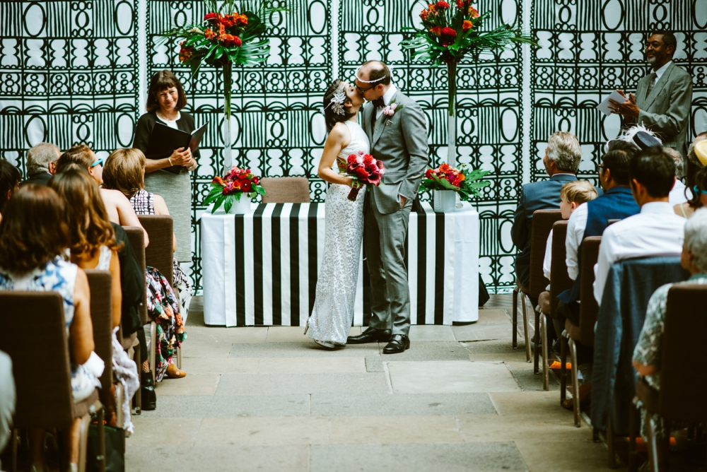Botanical Wedding at Barbican Conservatory with Tropical Flowers