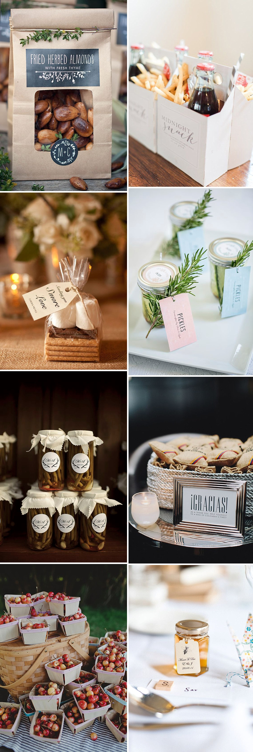 Beautiful and unique wedding favours your guests will actually love including edible and drinkable gifts and fun and eco-friendly ideas