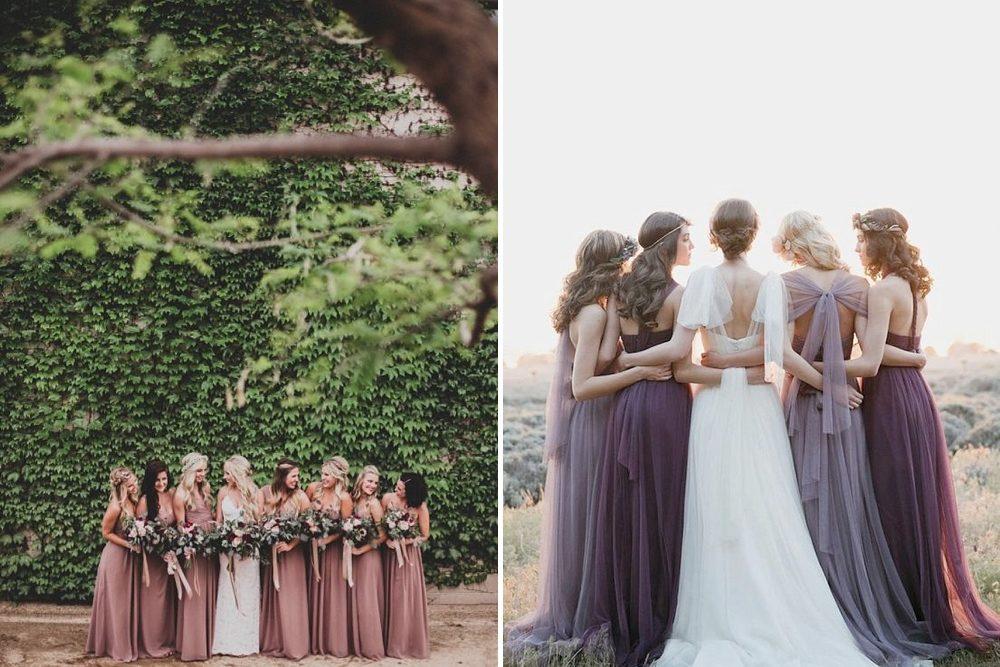 7c355f26547c6 Dusky Purple & Pink Mismatched Bridesmaids Dresses