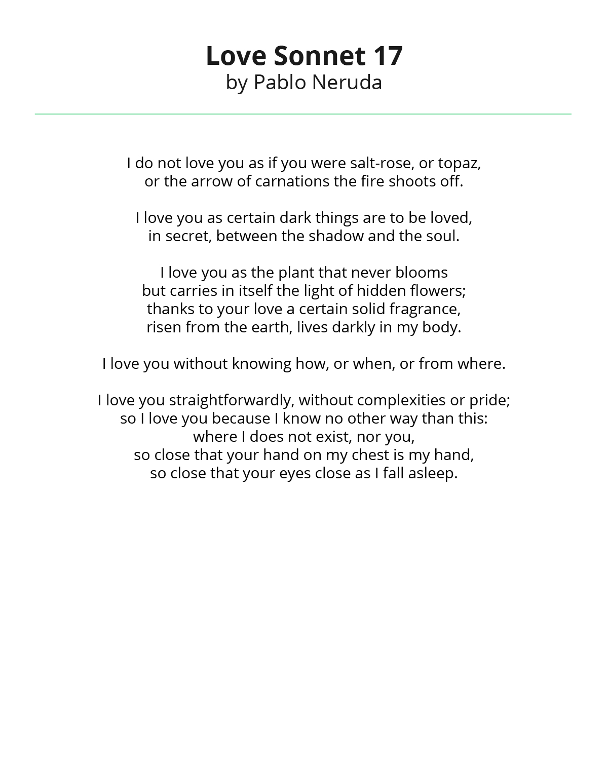 Love Sonnet by Pablo Neruda
