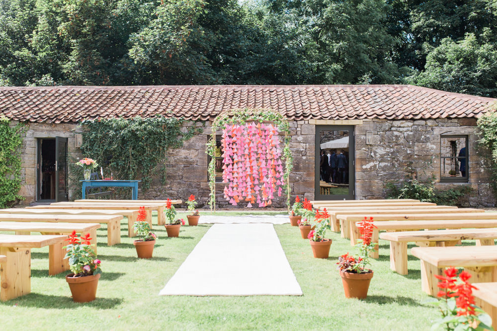 Outdoor Wedding at Windmill Barn in Scotland with Indian Summer Theme