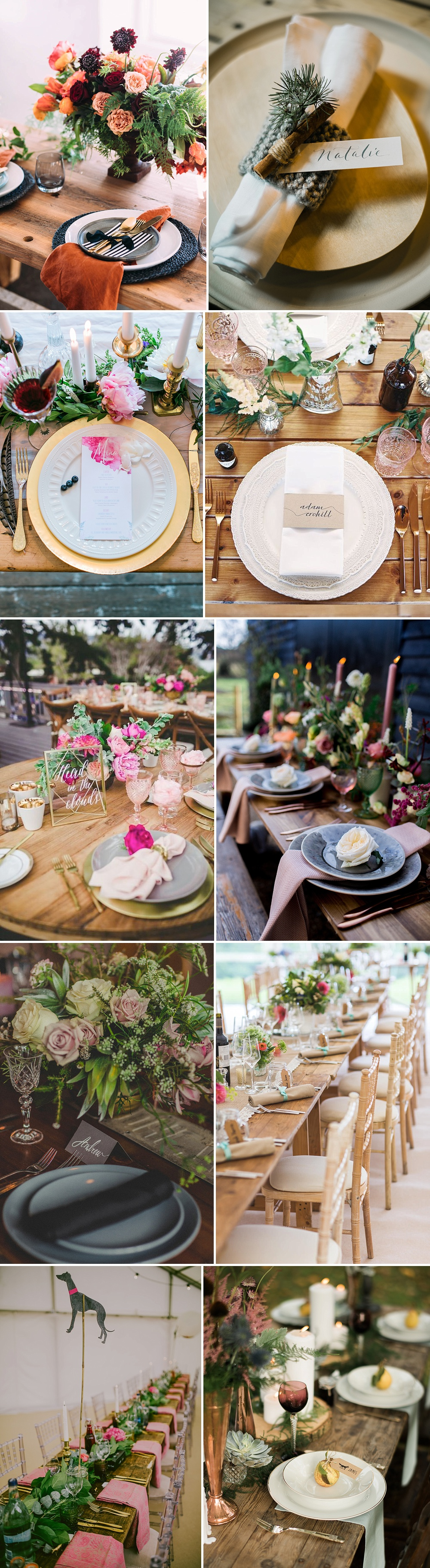 Rustic Place Settings For Weddings With A Bright Colour Palette