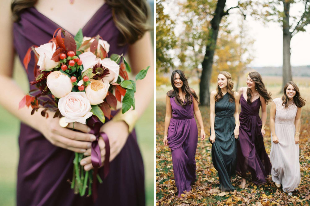 Autumn Bridesmaid Trends | Forest Green | Berry Tones | Burgundy | Bridesmaid Dresses | Image by Elisa Bricker | https://elisabricker.com