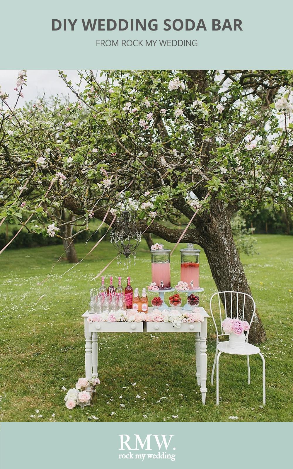 Wedding DIY Project // Pink Floral Soda Bar // DIY Bar Set Up For Wedding