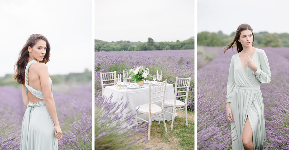 Sage green twobirds bridesmaid dresses & Halfpenny London wedding dress shot in lavender fields by Claire Graham
