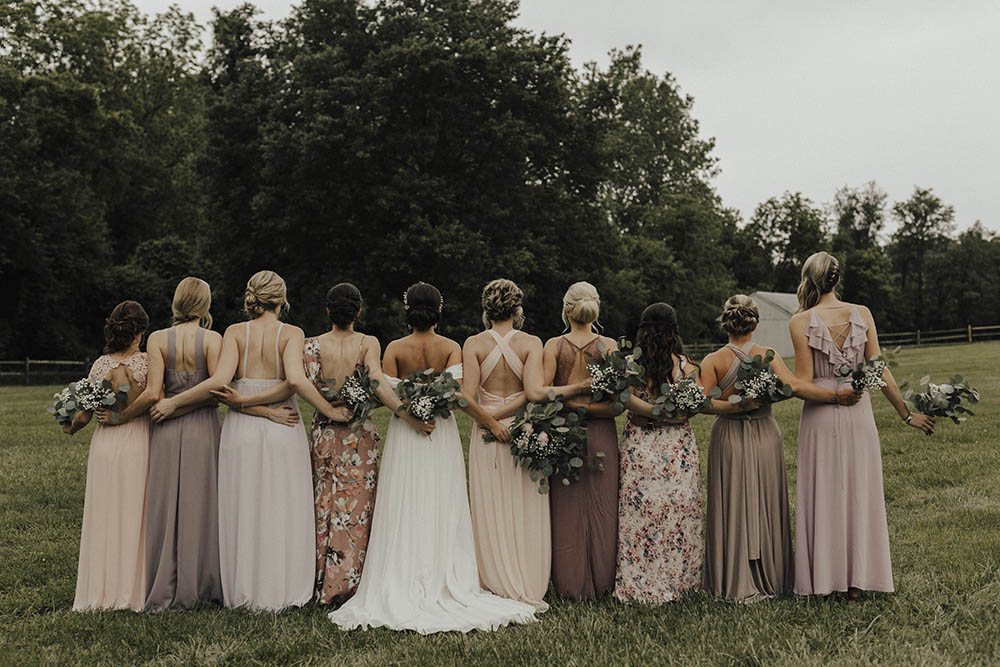 eaf141012 Jenny Yoo Bride For An Outdoor Farm Wedding In Maryland USA With Bridesmaids  In Mismatched Dresses