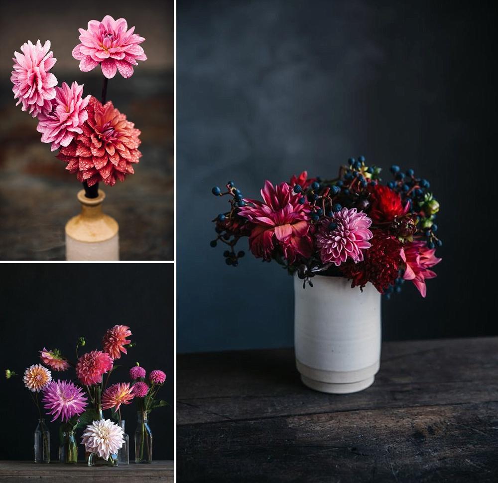 Single Stem Dahlias In Bud Vases // Using Dahlias For Your Wedding Flowers