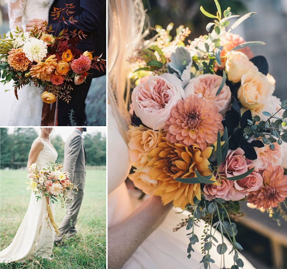 Flower Arrangement Wedding: Dahlia Wedding Bouquet & Floral Arrangement Ideas