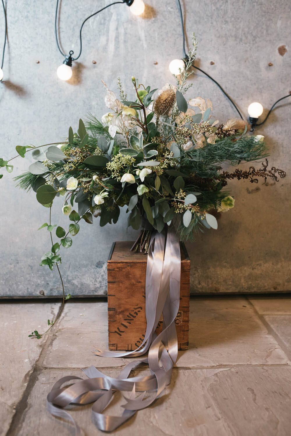 Winter Wedding Bouquet With Foliage & Silver Ribbon