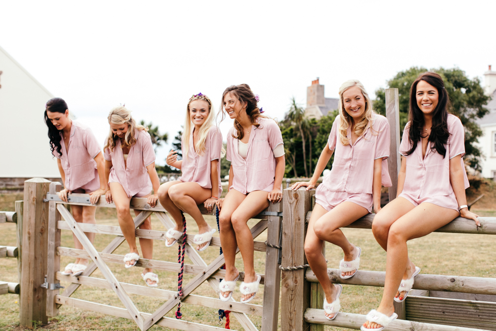 Bride & Bridesmaids In Matching Pink PJs
