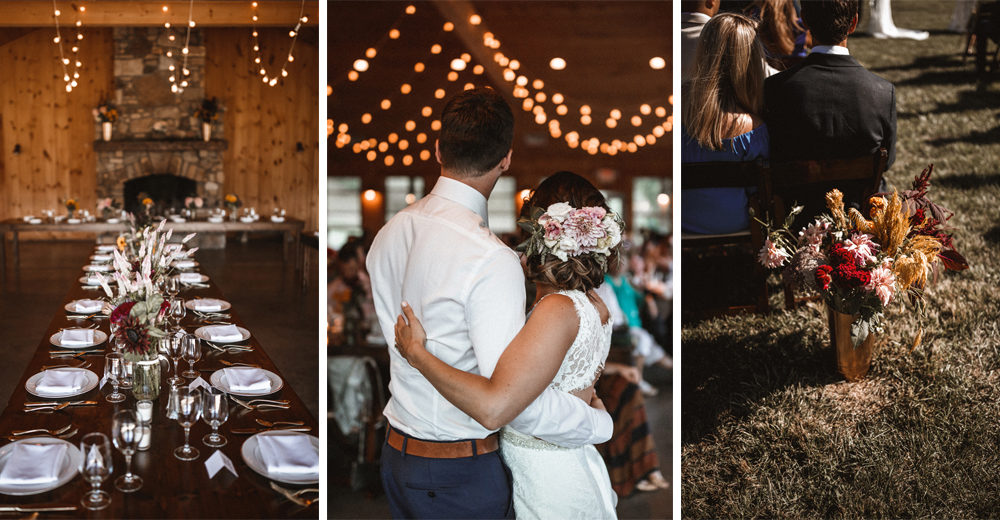 Outdoor Wedding at Claxton Farm in Weaverville, North Carolina | DIY Decor | Festoon Lights | Wild Flowers | Venus Bridals Gown | Benjamin Wheeler Photography