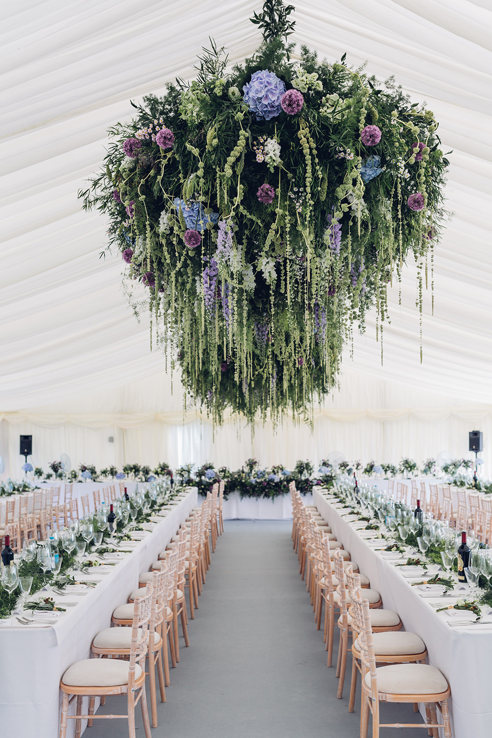 Hanging Florals For A White Marquee Wedding