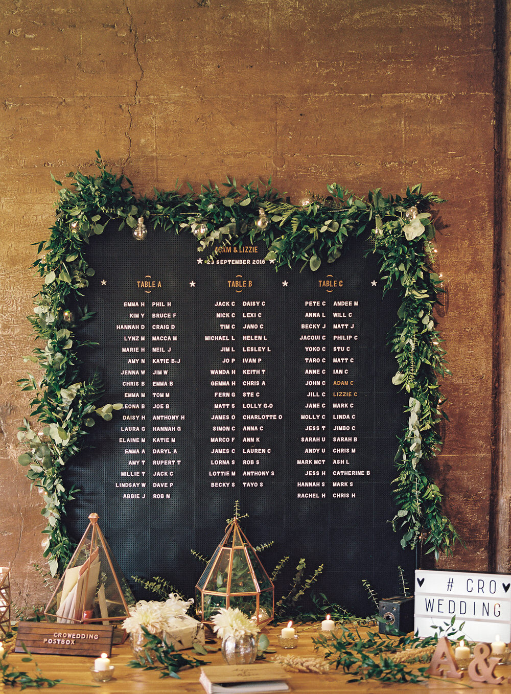 Elegant Modern Wedding At Elmore Court With Peg Board Table Plan