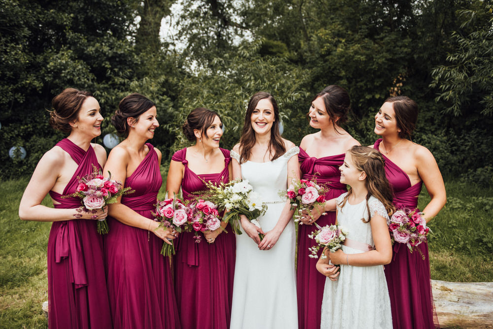 Bridesmaids In Raspberry Multiway Dresses