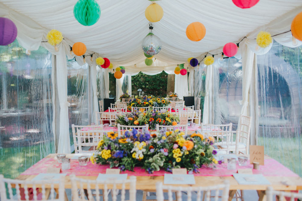 Colourful Back Garden Wedding With Bride In Asos Bridal Gown