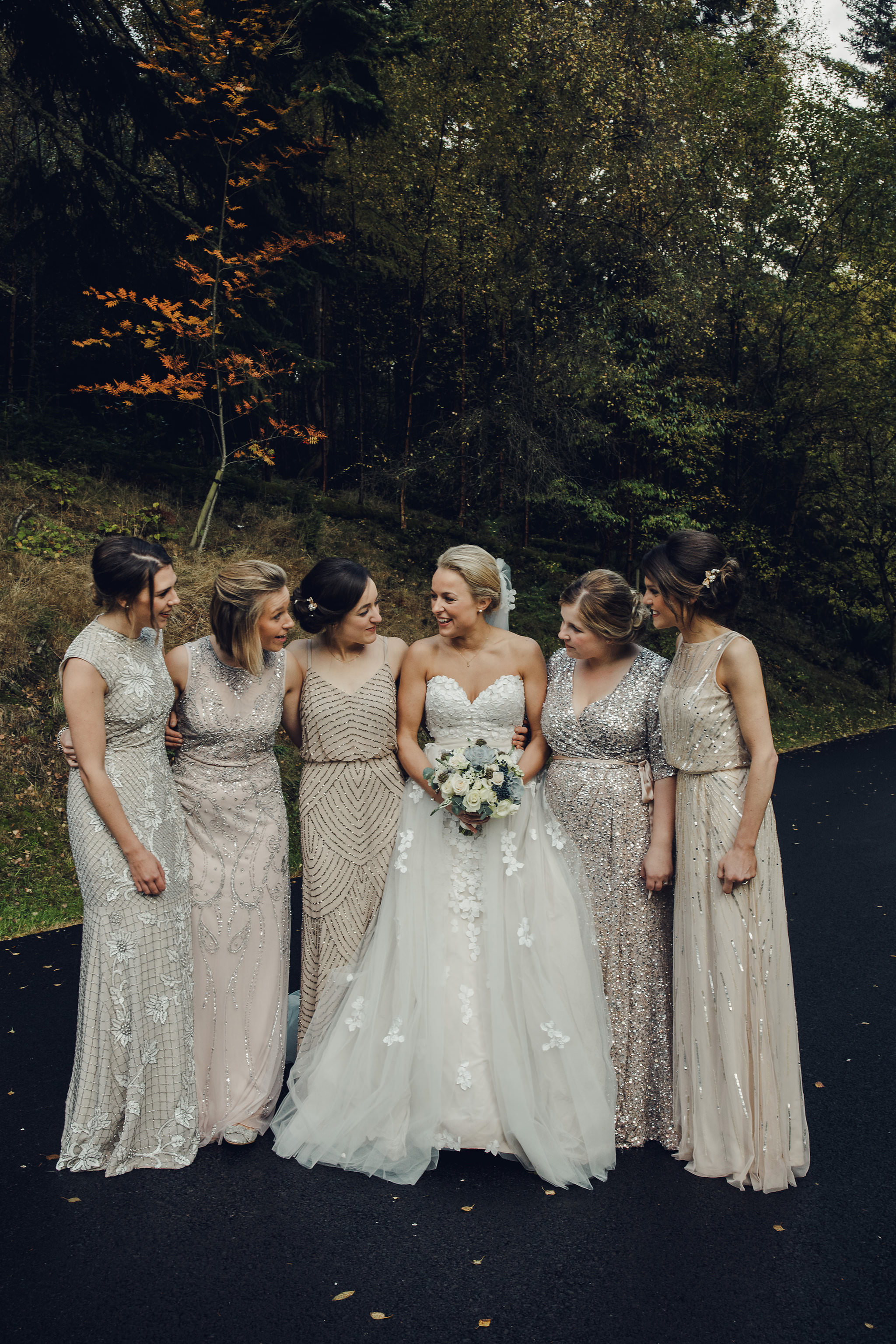 Wedding Group Shots With Bridesmaids In Sequinned Dresses