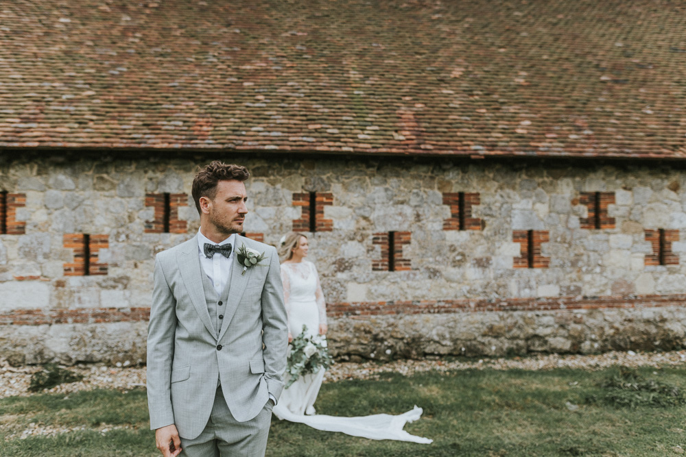 d717260dab33 Groomswear // Light Grey Suit With Matching Waistcoat And Navy Bowtie