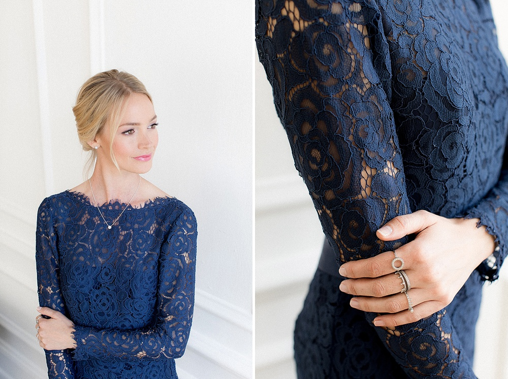 Classic Navy Dress For Bridesmaids With PANDORA Jewellery