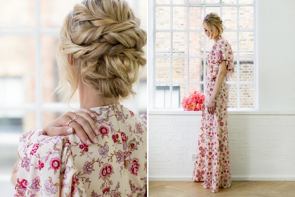 Bohemian Floral Print Bridesmaids Dress With PANDORA Jewellery