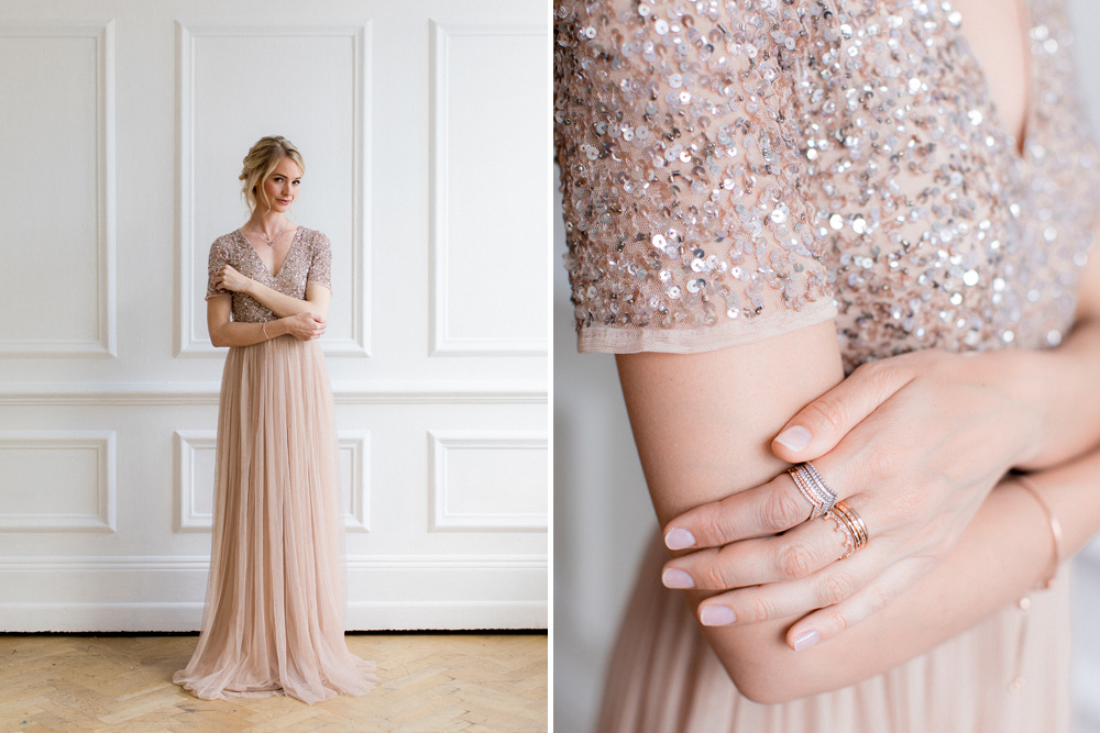 Sequin And Tulle Blush Pink Bridesmaids Dress With PANDORA Jewellery