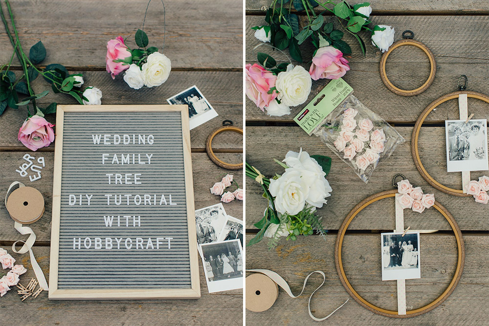 Props required for embroidery hoop wedding DIY