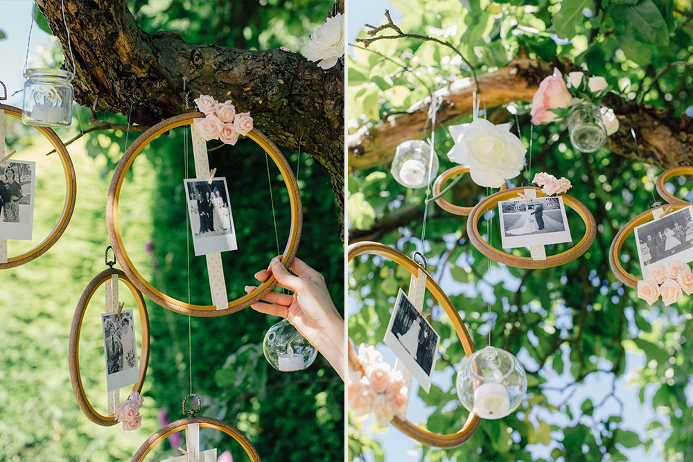 Hang variety of flowers and hoops