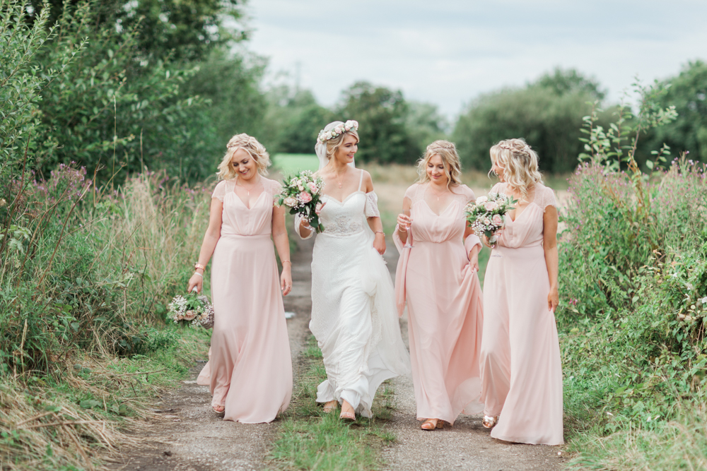 6333bd3b91ed Bridal Party | Pink ASOS Bridesmaid Dresses |Bride in Felicity Cooper Bridal  Gown | Pink