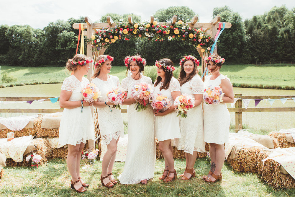 Bright Festival Themed Outdoor Ceremony Tipi Weeding With Diy