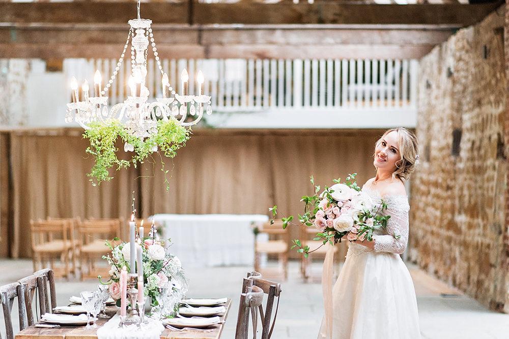 Blush Pink, Romantic, Country Wedding Inspiration at Tithe Barn, Dorset