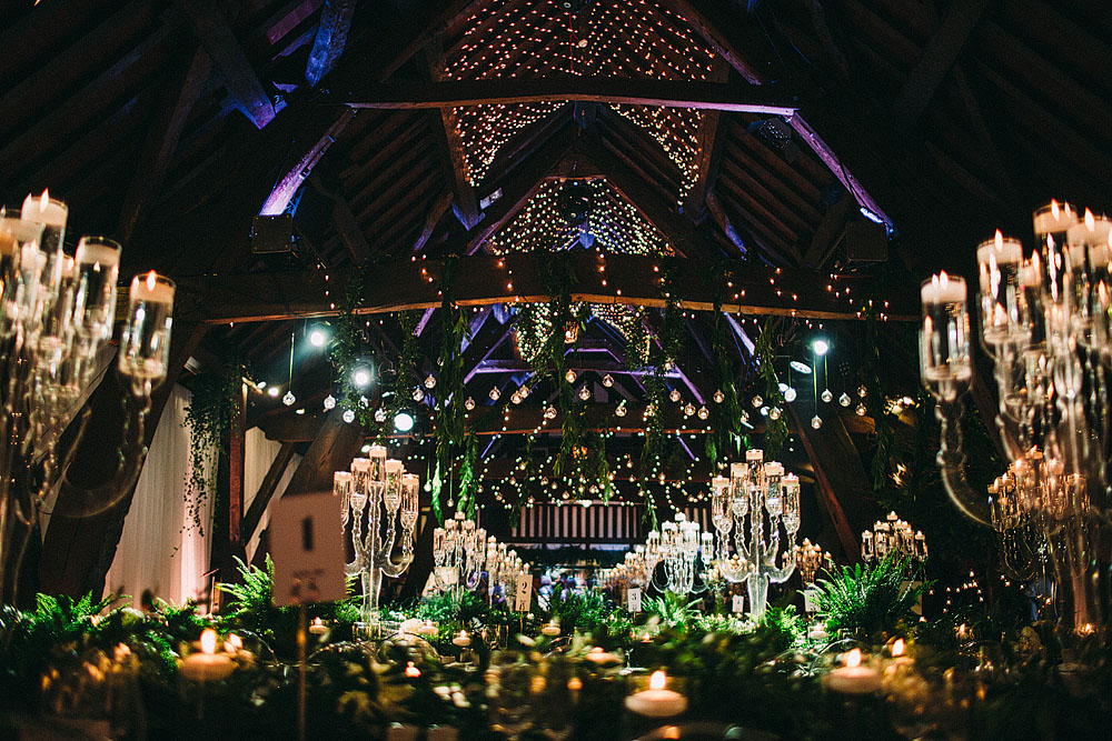 Black Tie Botanical Wedding with Acrylic Candelabras, Louis Ghost Chairs & Candle Light at Rivington Hall Barn | Foliage Floristy | Caroline Castigliano Bridal Gown | Lawson Photography