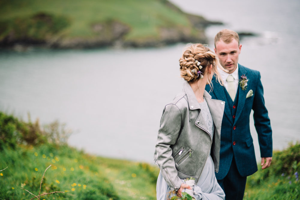 Wild Coastal Elopement, Bridal Inspiration at New Barton Barns, Devon | Ghost Bridal Dresses | Floral Installation | Elegant Tablescape | Liberty Pearl Photography | & Film