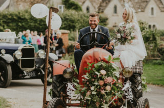 Family Home Wedding In The Cotswolds With Vintage Porsche Tractor