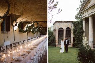 Green & White Bohemian Wedding at Castello di San Sebastiano da Po, Italy | Hanging Hoops Decor | Laure de Sagazan Gown | Margherita Calati Photography