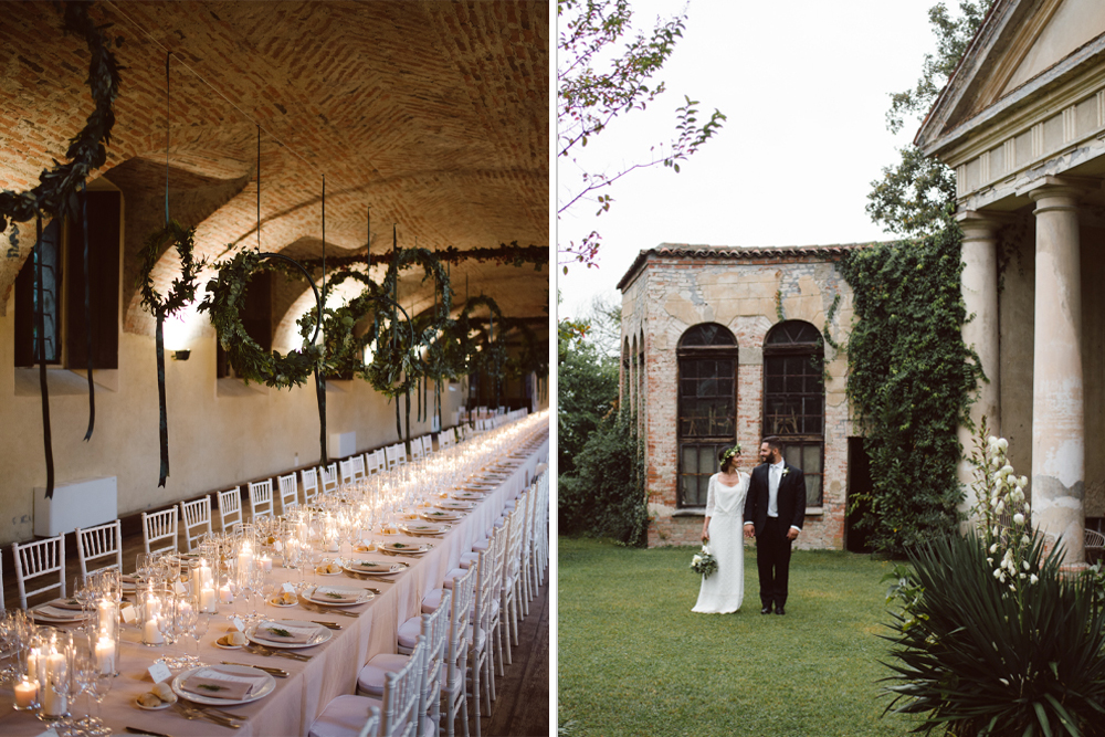 Green & White Bohemian Wedding at Castello di San Sebastiano da Po, Italy | Hanging Hoops Decor | Laure de Sagazan Gown | Margherita Calati Photography