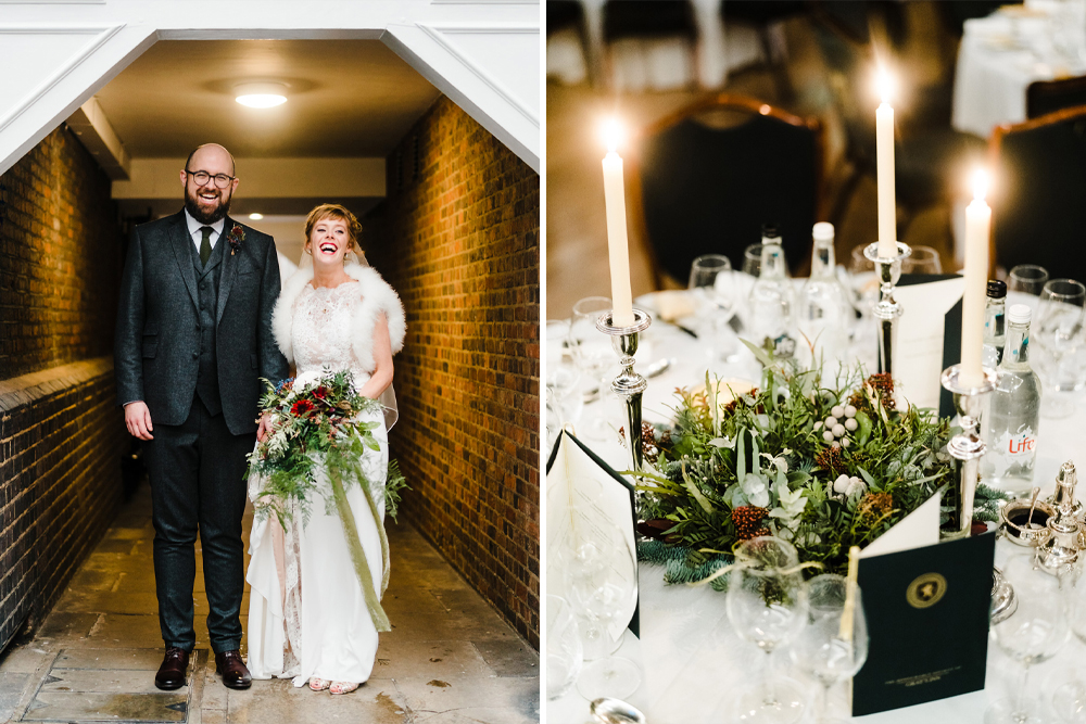 Candle Lit Christmas Wedding at Gray's Inn London with Christmas Carols & Festive Wreaths | San Patrick Bridal Gown | Tweed Suit | John Barwood Photography
