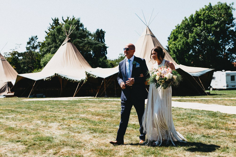 Fringed Wedding Dress For A Tipi Wedding