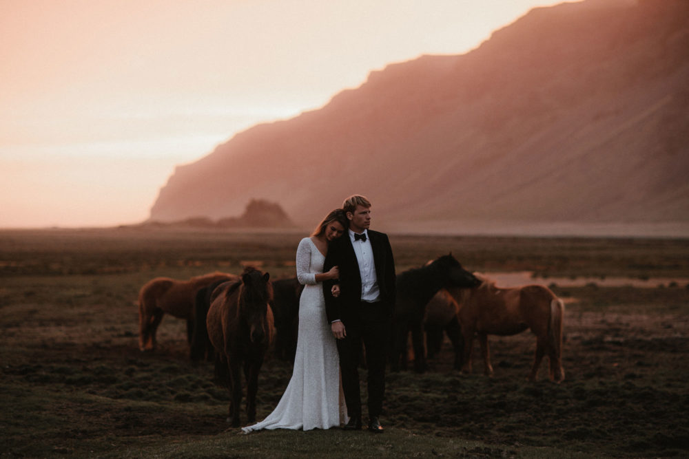 Iceland Elopement Wedding With Bride In Sequin Suzanne Harward Dress