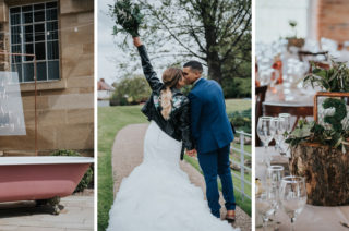 Pink Roll Top Booze Bath and Copper & Perspex Wedding Decor at Industrial Venue The West Mill | Customised Leather Jacket | Rosie Kelly Photography